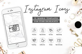 Instagram | 32个时尚日常运动用品图标元素PSD模板大理石背景