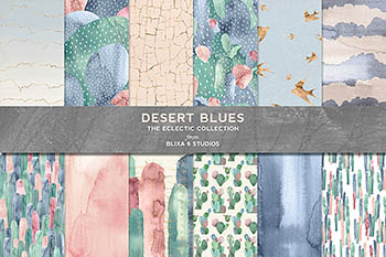 蓝色沙漠仙人掌水彩画 Desert Blues Cactus Watercolors