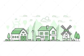 生态农业线性设计风矢量插画素材 Eco farming – thin line design style illustration