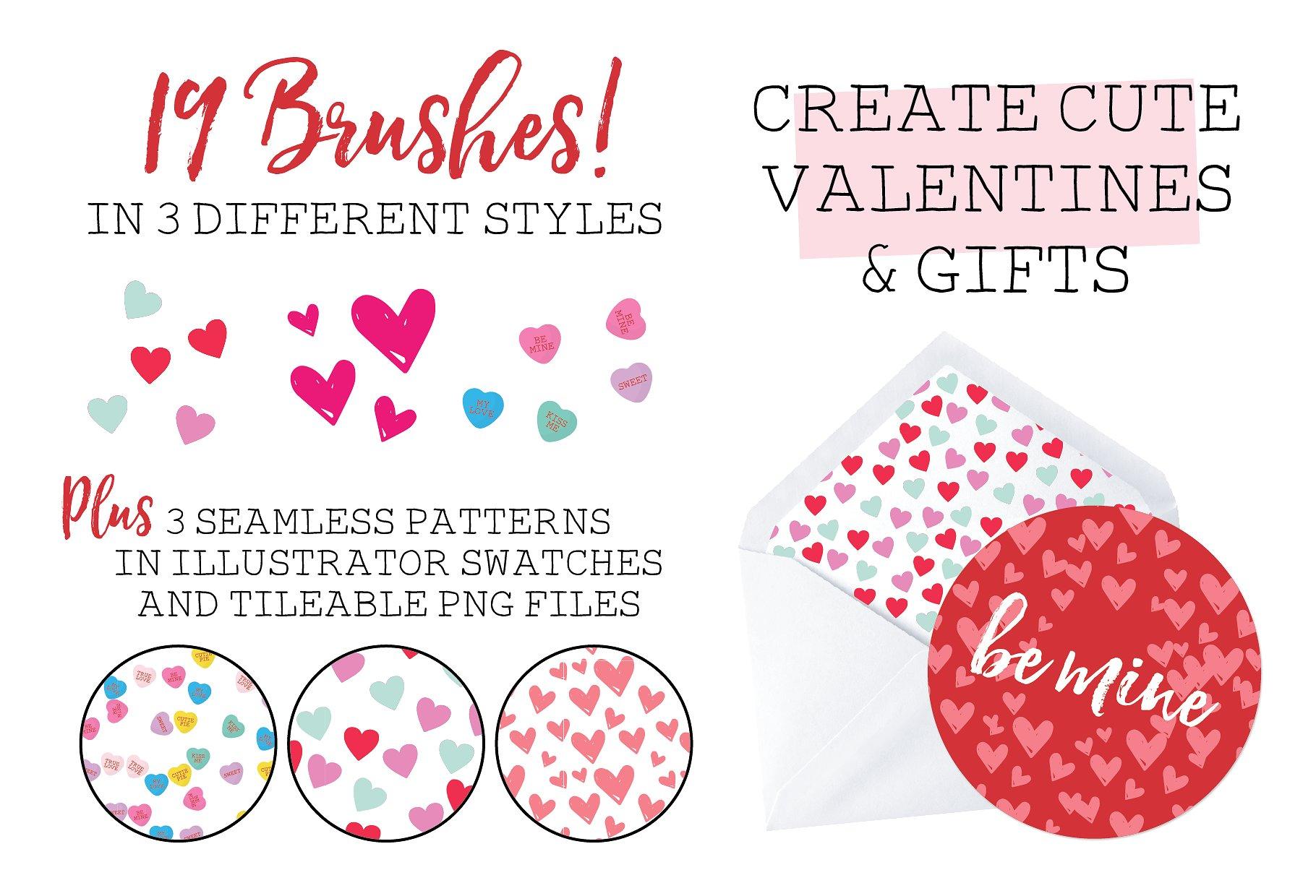 情人节爱心笔刷下载 Valentine Confetti Kit设计素材模板