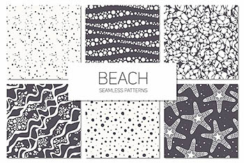 海滩海洋元素背景纹理 Beach. Seamless Patterns Set