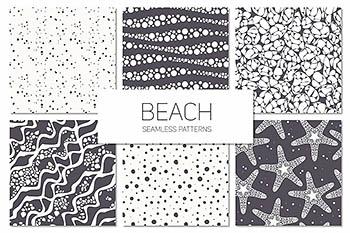 海滩海洋元素背景纹理 Beach. Seamless Patterns Set
