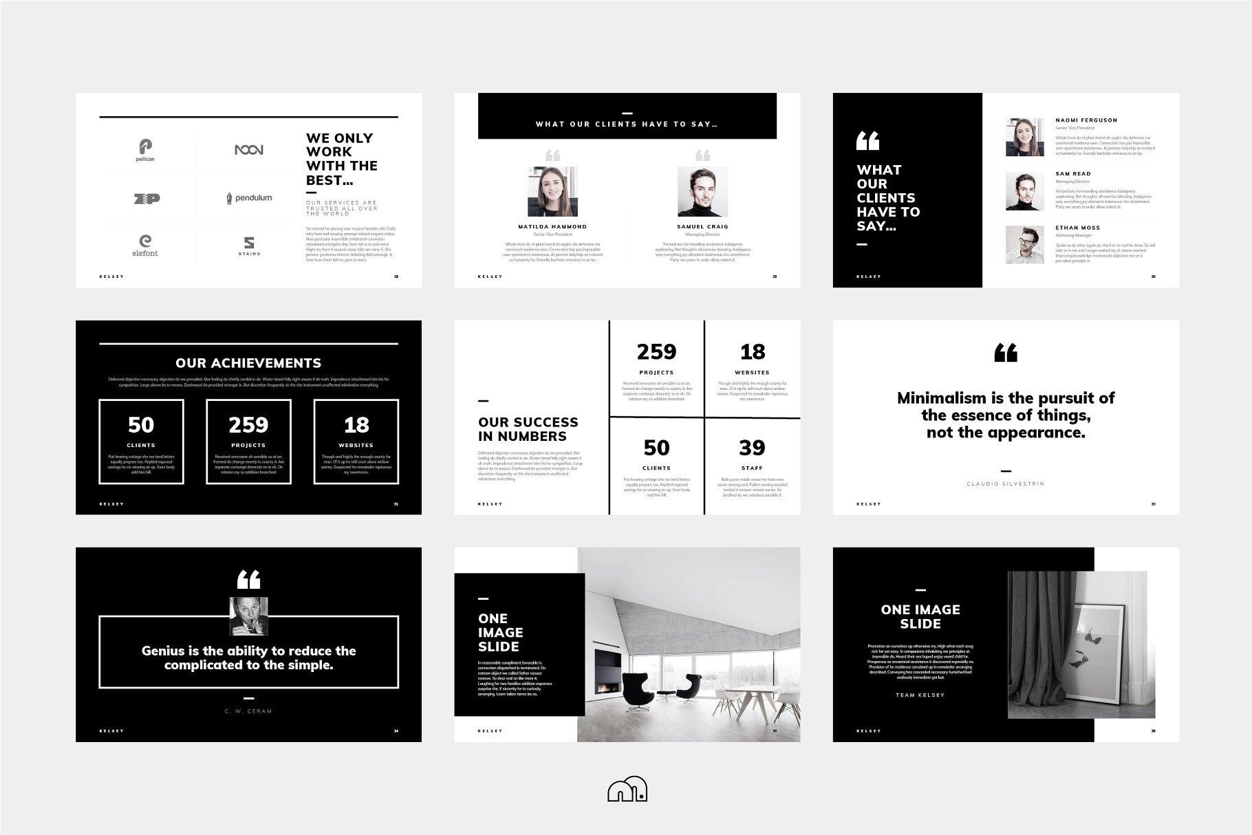 个性高端的PPT模板下载 Kelsey – PowerPoint Presentation设计素材模板