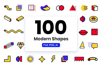UI图标时尚高端现代流行复古孟菲斯风格形状元素大集合