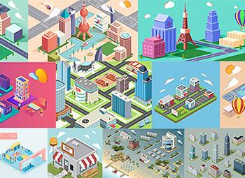 2.5d插画素材空间社区城市建筑场景塔吊工地合集AI矢量闪屏引导页 AI0021