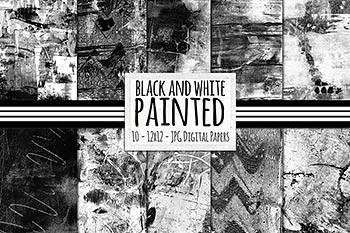 墨水黑白背景纹理 Black & White Painted Digital Paper