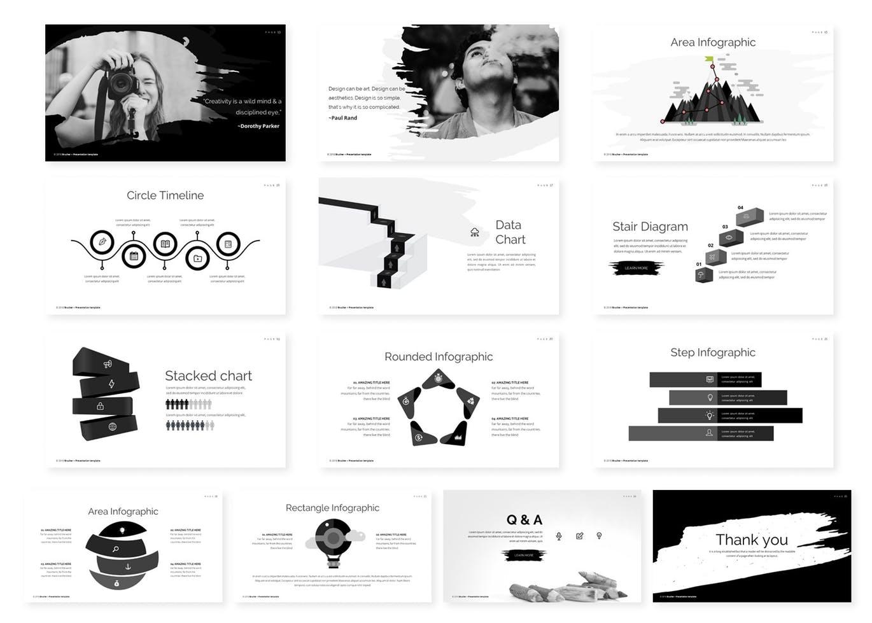 高端时尚简约中国风水墨元素的powerpoint幻灯片演示模版(PPT)设计素材模板