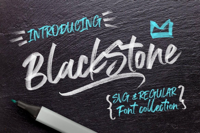 字体 | 黑石标记毛笔笔触肌理自然纹理英文连字独特触感文字设计设计素材模板