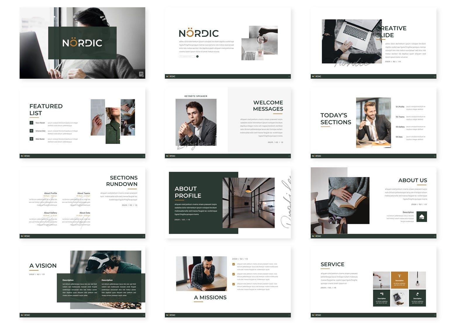 公司介绍/业务展示PPT幻灯片设计模板 Nordic – Powerpoint Template设计素材模板