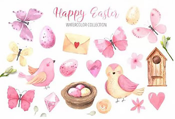 复活节主题粉色水彩插画素材