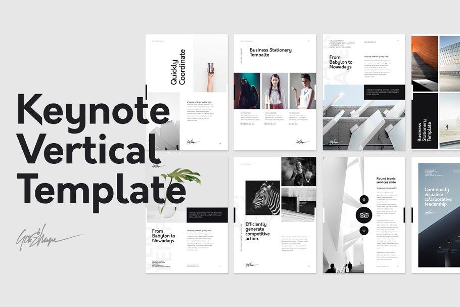 竖版的keynote时尚设计模板 Keynote Vertical Stationery Template设计素材模板