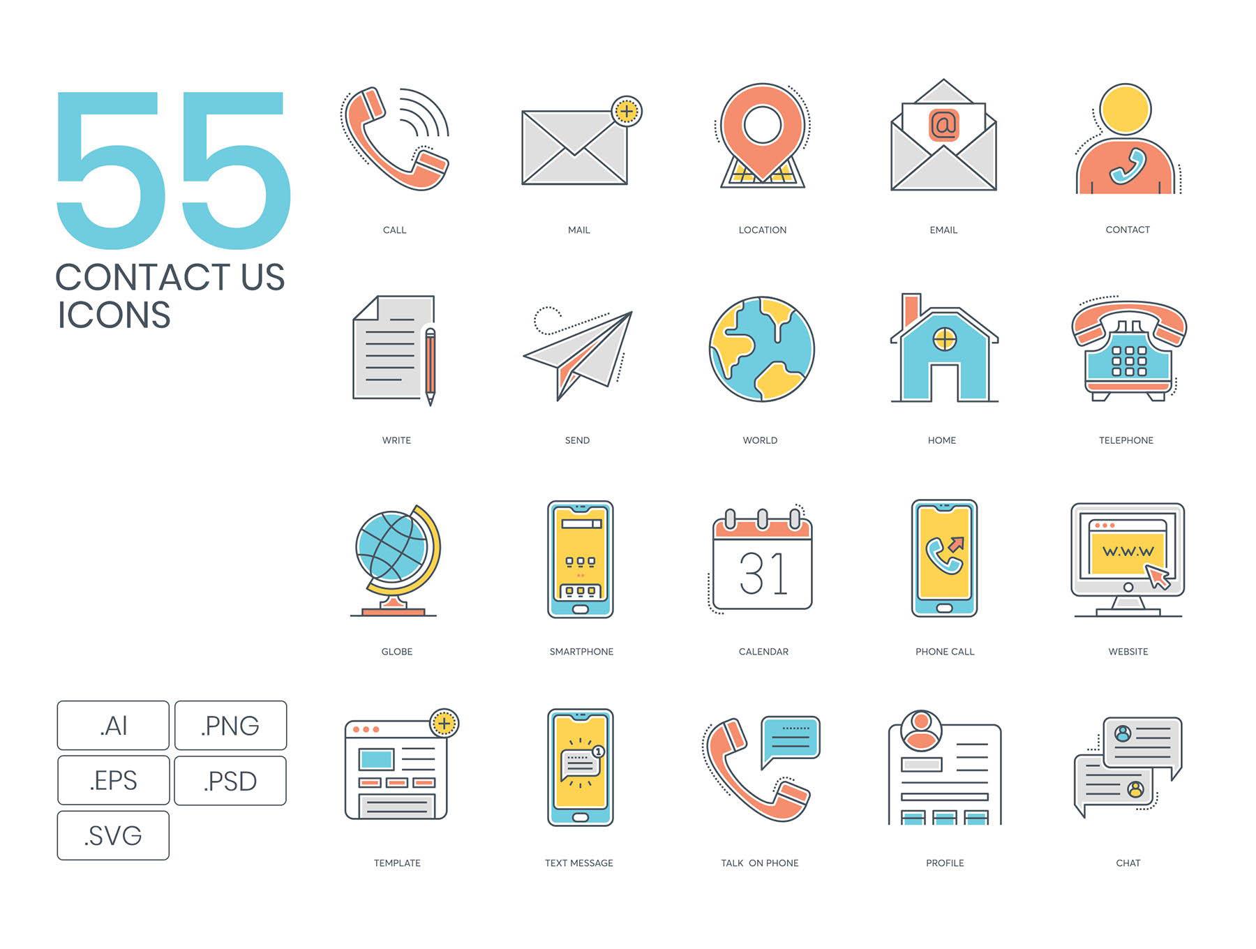 55联系相关的图标套装下载[Ai]