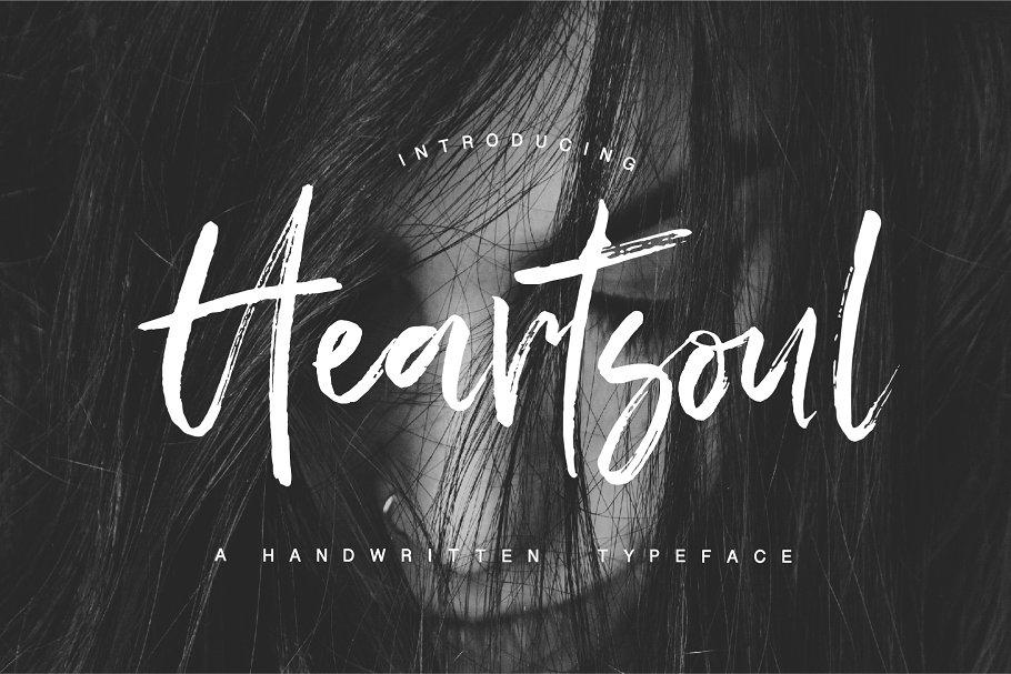 自然流畅的手写字体 Heartsoul Font设计素材模板