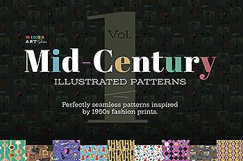 20世纪中叶复古时尚无缝图案纹理素材包 Mid-Century Illustrated Patterns