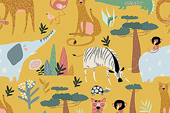 野生动物矢量无缝图案素材 Vector seamless pattern of wild animals on yellow