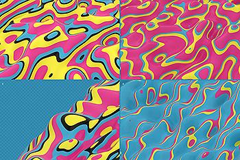 复古配色风格抽象3D波纹背景图素材 Abstract 3D Wavy Lines Background – Retro Color