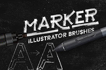 马克笔效果的笔刷 Marker Illustrator Brushes