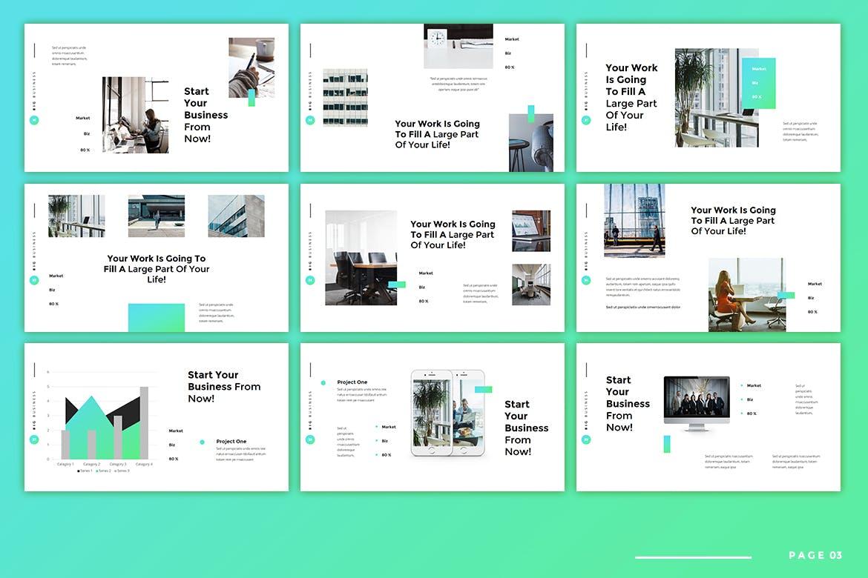 绿色系商业计划书PPT模板[PPTX]设计素材模板