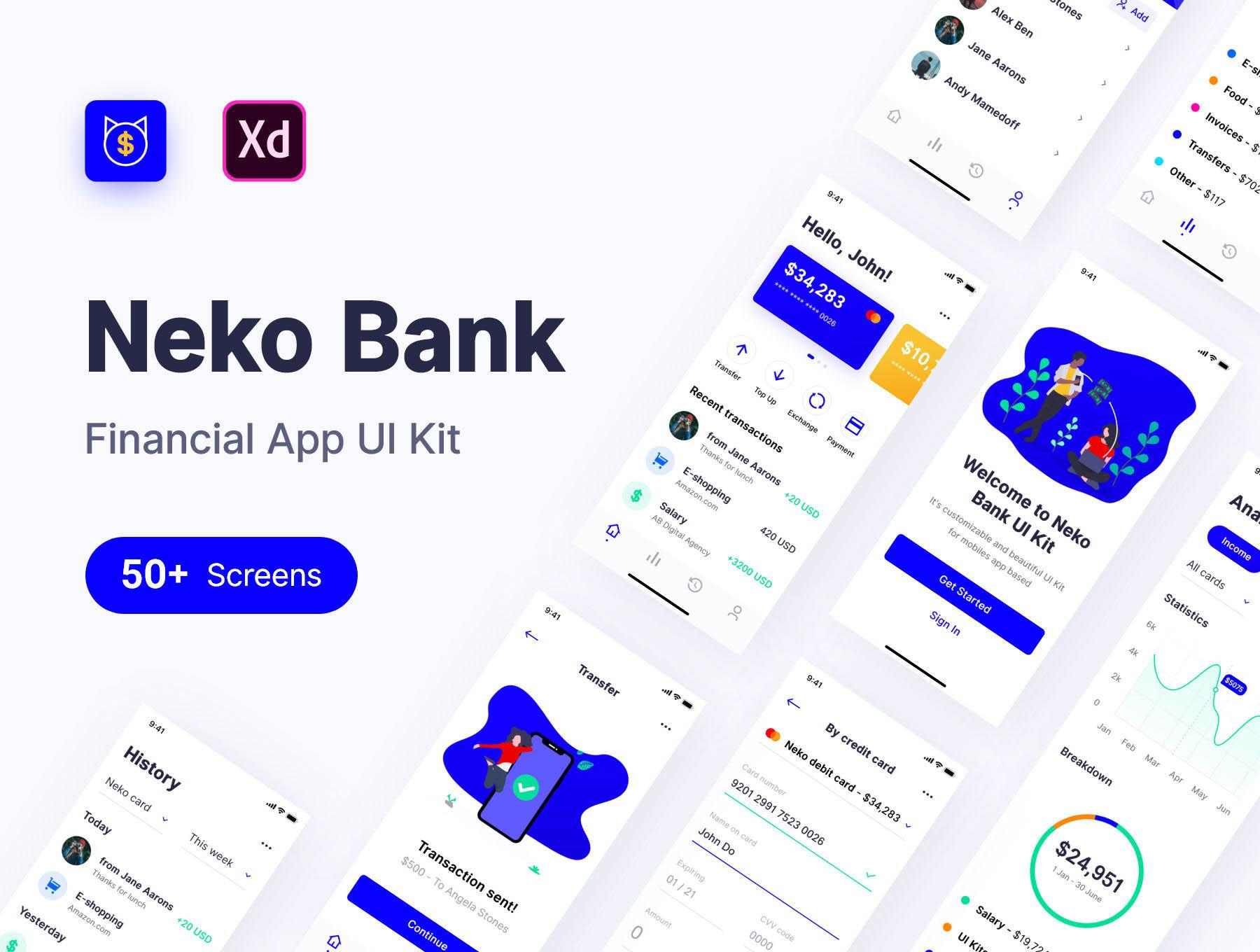 一流的网银APP产品UI套装 app设计iOS Ui[XD]