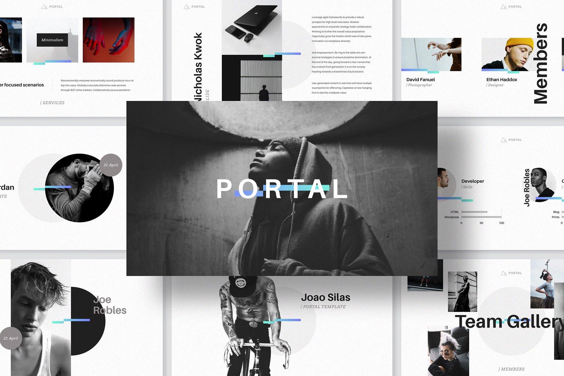 时尚的PPT和keynote模板 PORTAL Keynote Presentation Template设计素材模板