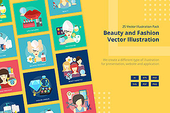 25个美容&时尚主题矢量插画设计素材 Beauty and Fashion Vector Illustration