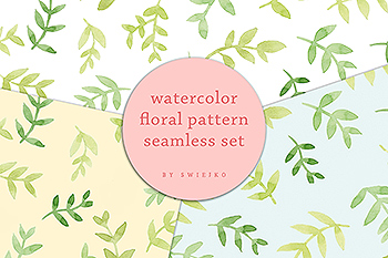 水彩花卉无缝图案背景素材 Delicate Flowers – seamless watercolor pattern set