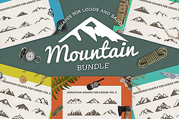 logo素材户外山峰 Mountain Shapes For Logos Bundle