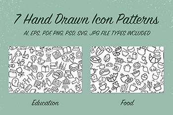 手绘图标背景纹理 7 Hand Drawn Icon Patterns – Vol 1