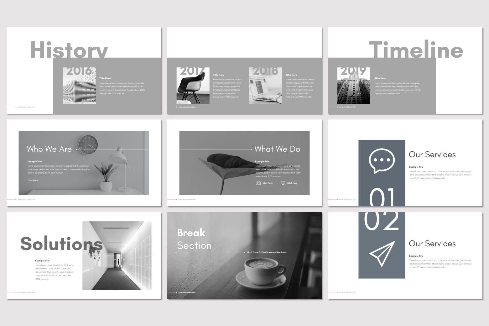独特创意的商业或个人简洁的ppt模板下载[PPTX]设计素材模板