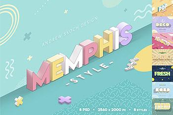 文字特效时尚高端少见的3D立体流行新孟菲斯风格图层样式集合