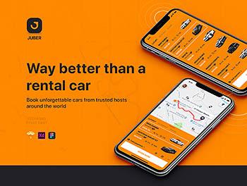 完美的小汽车租赁&打车APP应用UI设计模板[XD,Sketch,Fig]