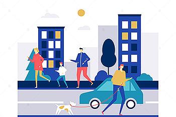 城市慢跑主题扁平设计风格矢量插画素材 People running – flat design style illustration