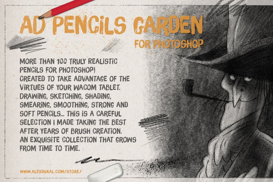铅笔素描笔刷 The Pencils Garden设计素材模板