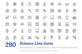 290个科技线型图标 290 Science Line Icons