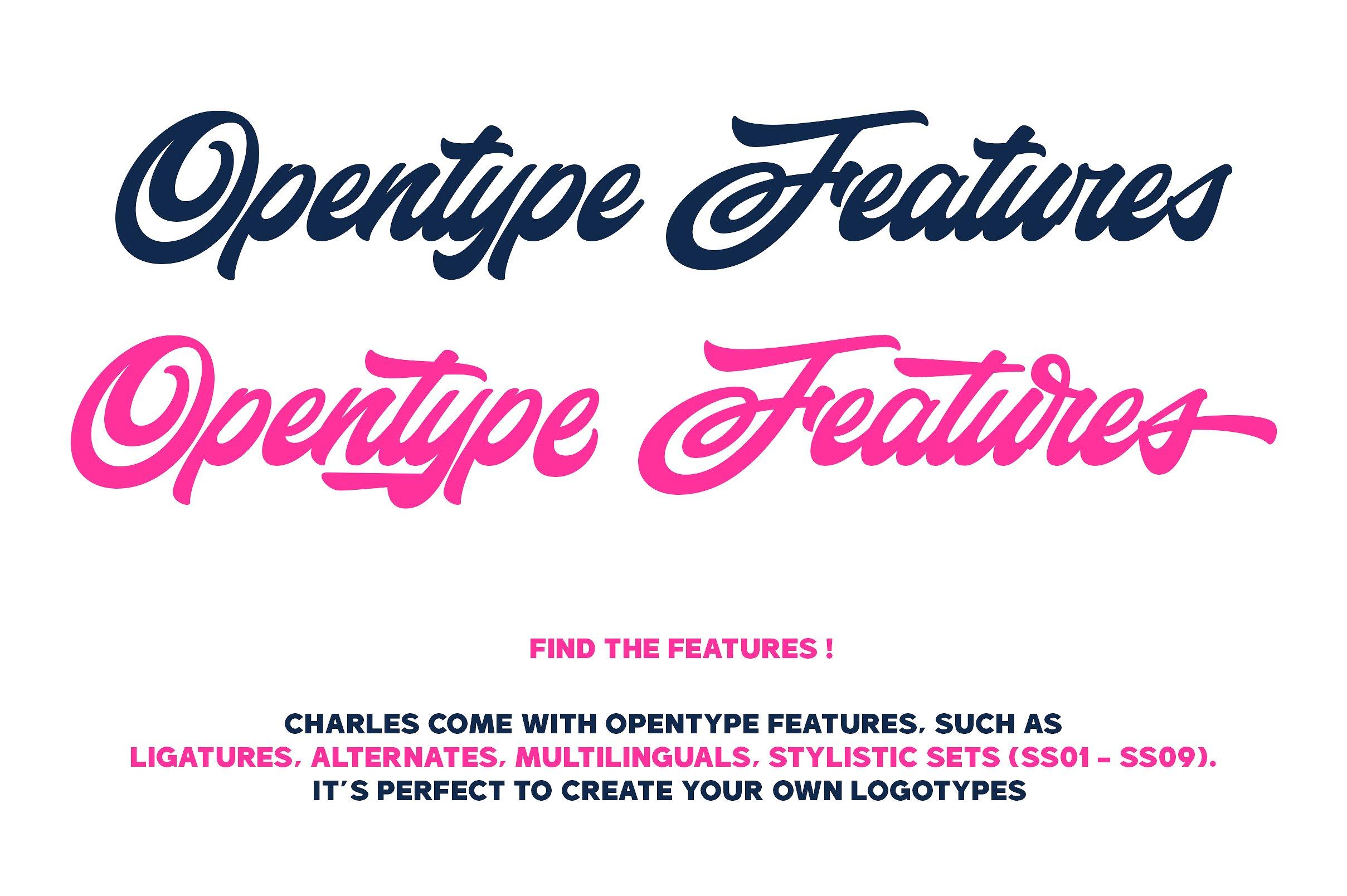 手写艺术字体 Charles Family设计素材模板