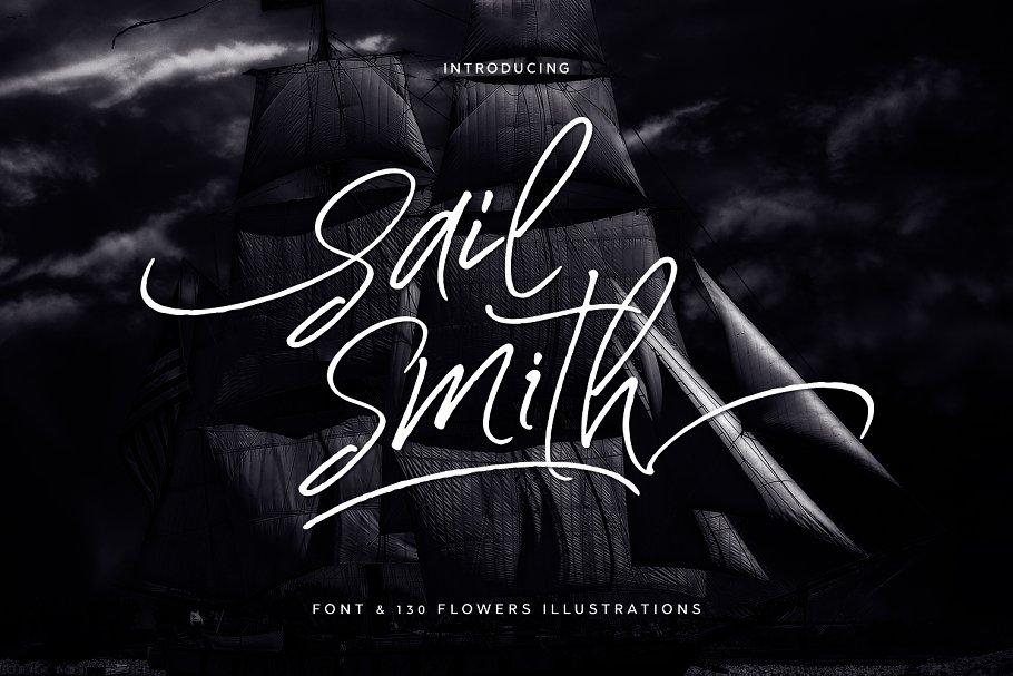 英文手写字体 Sail Smith Font设计素材模板