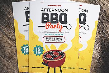 BBQ烧烤活动海报传单设计模板 Barbeque Party Flyer