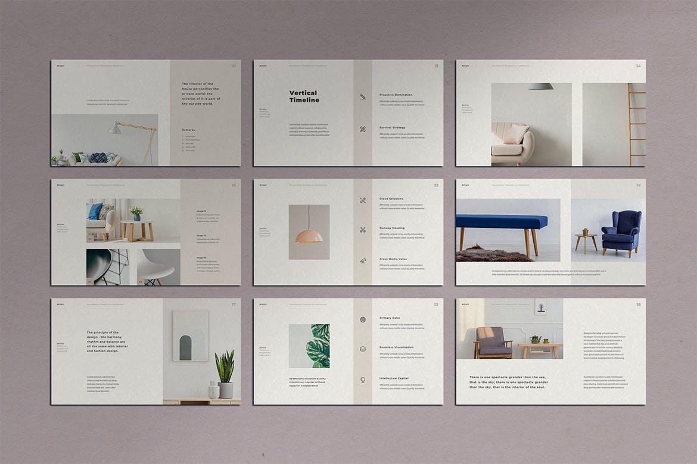 简约ppt模板  精美ppt模板 时尚居家设计师使用的PPT模板[PPTX]设计素材模板