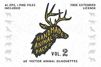 手绘动物插画 Handmade Animal Silhouette Pack 2