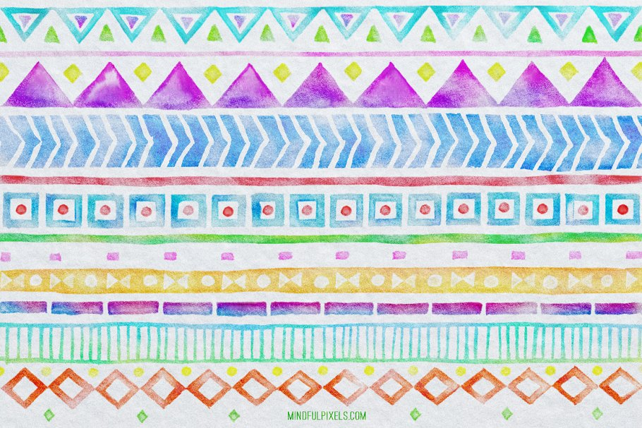 有趣的水彩笔刷 Aztec Watercolor Brushes设计素材模板