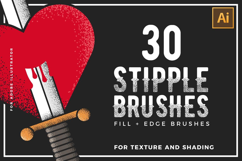 笔刷 | 30个手工制作点画笔复古标志插图背景刷子设计素材模板