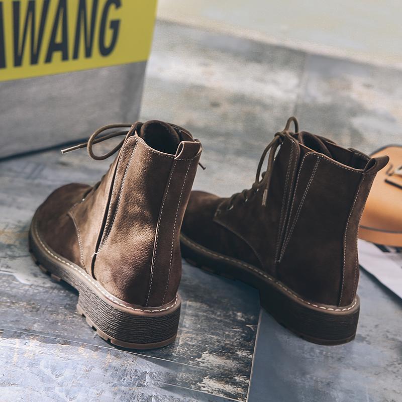 2018冬季女靴平底马丁靴女英伦风复古粗跟女短靴系带机车靴沙漠靴