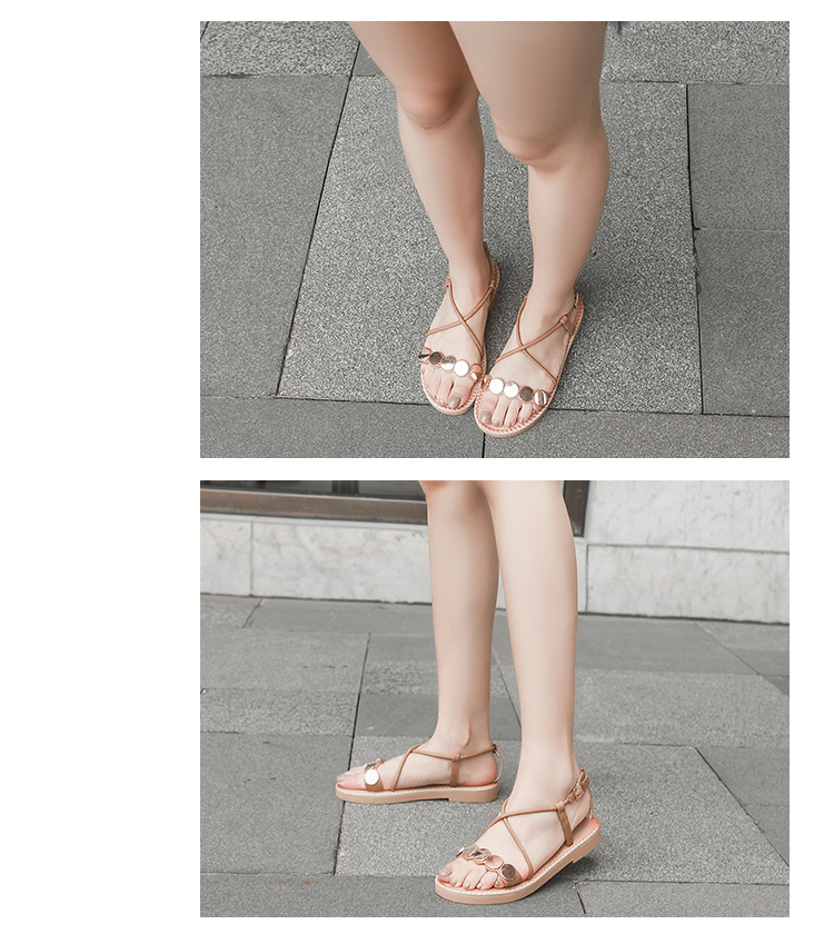 交叉带罗马凉鞋女夏平底一字带露趾平跟仙女凉鞋百搭铆钉罗马鞋女详细照片