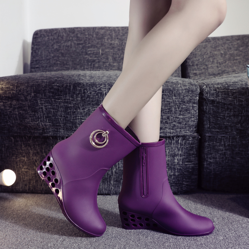 新款韩国春夏秋冬胶鞋短筒高跟雨靴水鞋防滑坡跟雨鞋v胶鞋单女士女