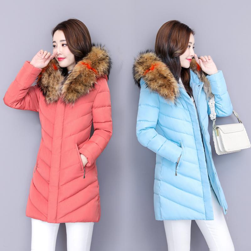 Áo khoác nữ mùa đông cotton mỏng nữ 2018 mới Áo khoác cotton Hàn Quốc nữ dài dày độn xuống áo khoác