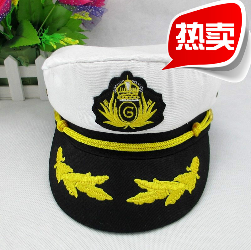 9573d3b810a On top of the Flying Feather Navy cap adult men and women children badge captain  cap