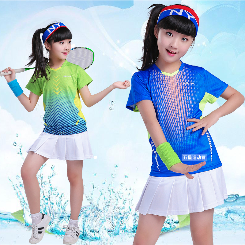 edef9536c69 2019 children's badminton suits girls boys short-sleeved skirt pants  sportswear table tennis clothing tennis clothing quick dry