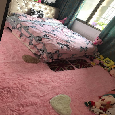 Modern and simple pink princess bedroom fully paved carpet home living room plush bedside bay window carpet mat
