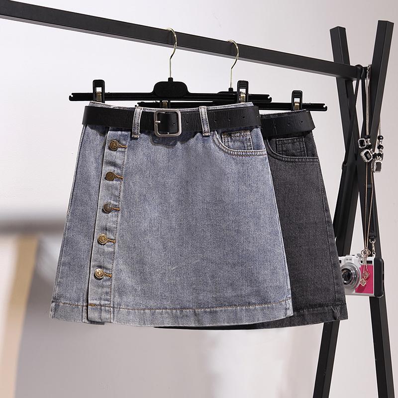 加肥加大码200斤胖mm韩版牛仔半身裙女夏显瘦高腰A字包臀短裙学生