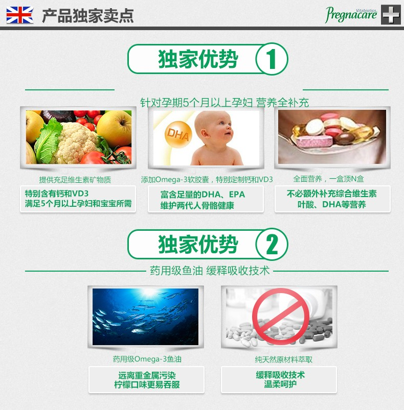 薇塔贝尔 pregnacare女士孕中孕晚期预产期叶酸营养片(最强) 84片¥178.00 产品系列 第7张